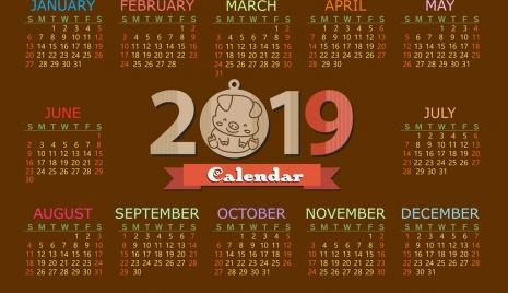2019 calendar template brown design pig icon