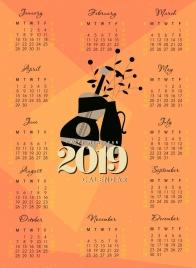2019 calendar template classical guitar flower pot decor