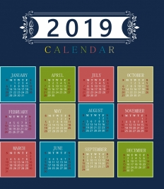 2019 calendar template colorful classical decor