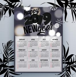 2019 calendar template dark bokeh snowflakes decor