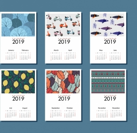 2019 calendar template life theme classical decor