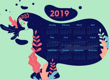 2019 calendar template woman leaves icons sketch