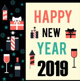 2019 new year poster gift wineglass candle icons