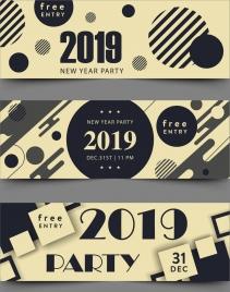 2019 new year ticket template modern geometric decor