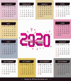 2020 calendar template bright modern colorful plain decor