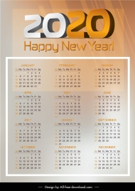 2020 calendar template bright modern design blurred decor