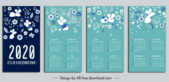 2020 calendar template classical floral rats decor