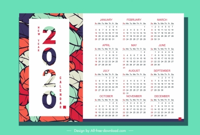 2020 calendar template colorful leaves decor vertical design