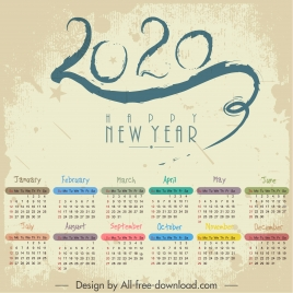 2020 calendar template colorful retro number stroke decor