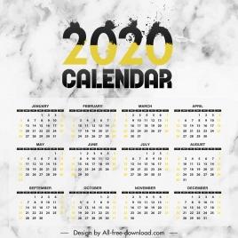 2020 calendar template modern grunge ink number decor