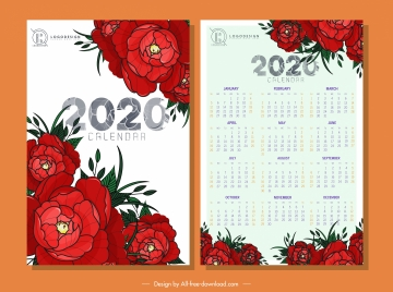 2020 calendar template red roses decor