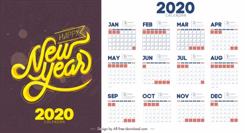 2020 calendar template simple flat decor contrast design