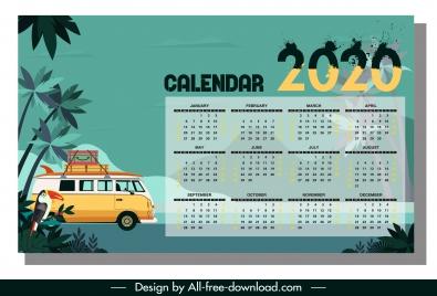 2020 calendar template travel theme colorful classic