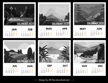 2020 calendar templates black white classic scenery decor