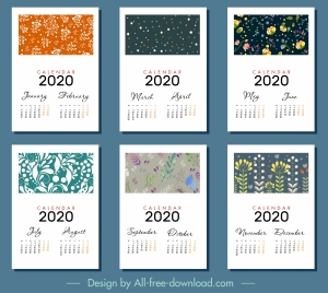 2020 calendar templates classical floral decor