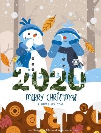 2020 christmas banner cute stylized snowman decor