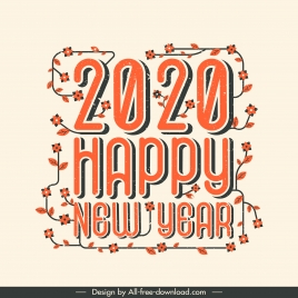 2020 new year banner classical floras leaves decor