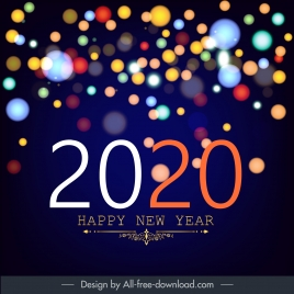 2020 new year banner colorful bokeh lights decor