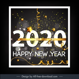 2020 new year banner twinkling eventful confetti decor