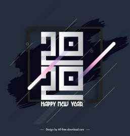 2020 new year poster geometric numbers grunge decor