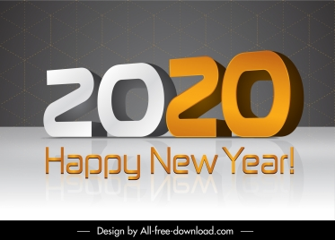 2020 new year poster modern 3d numbers decor