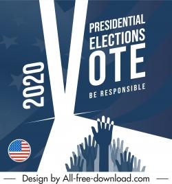 2020 usa election banner blurred flag raising arms