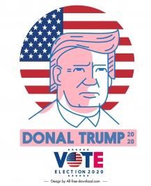 2020 usa election poster president portrait flag sketch
