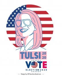 2020 usa election template handdrawn woman portrait flag sketch