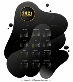 2021 calendar template black deformed shapes decor