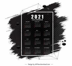2021 calendar template black white grunge decor