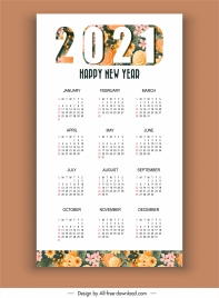 2021 calendar template bright colorful flowers decor