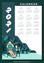 2021 calendar template calm lifestyle sketch cartoon design