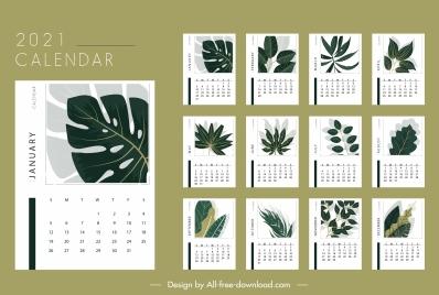 2021 calendar template classical leaves shapes decor