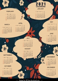 2021 calendar template dark flat flowers cloud textbox