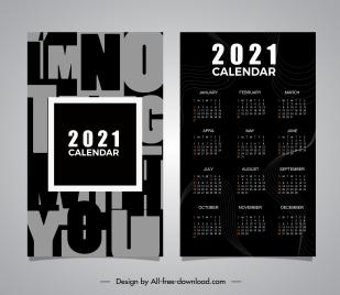 2021 calendar template dark texts decor