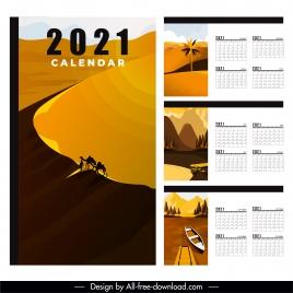 2021 calendar template desert lake river scenes decor