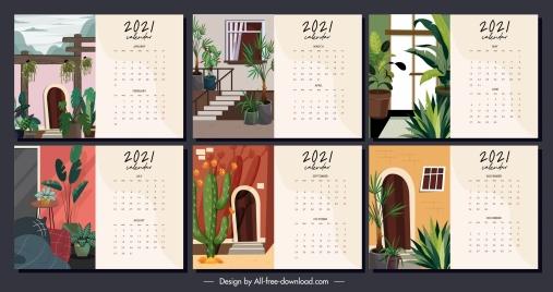 2021 calendar template house decor theme classic design