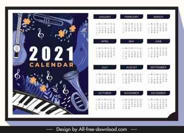 2021 calendar template jazz instruments dark classic
