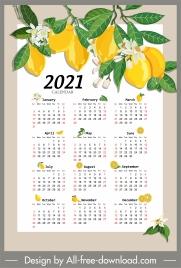 2021 calendar template lemon tree sketch colorful decor