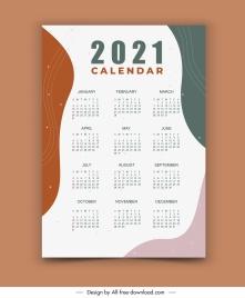 2021 calendar template modern bright abstract decor