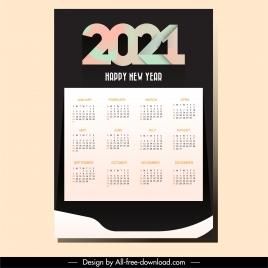 2021 calendar template modern contrast plain decor