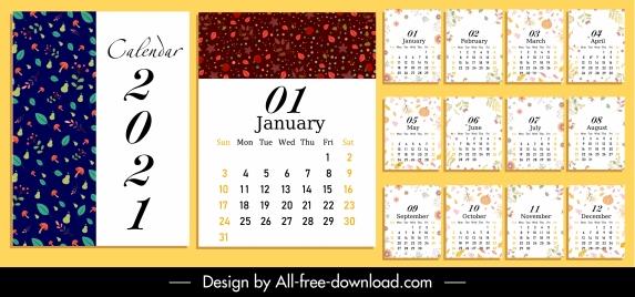 2021 calendar template nature elements decor