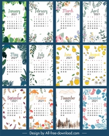 2021 calendar template nature elements decor classic handdrawn