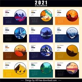 2021 calendar template nature scenery sketch colorful classic