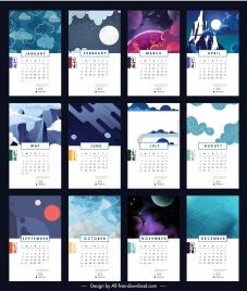 2021 calendar template sky scenes ornament