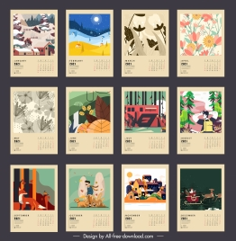 2021 calendar templates classical nature seasons sketch
