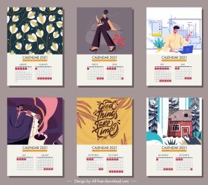 2021 calendar templates classsic decor life elements themes