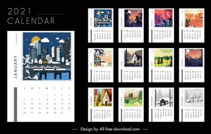 2021 calendar templates landscape decor colorful design