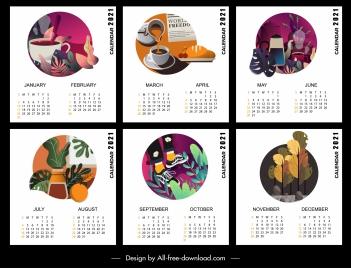 2021 calendar templates life elements decor