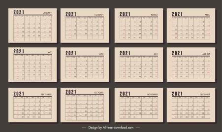 2021 calendar templates retro brown plain decor